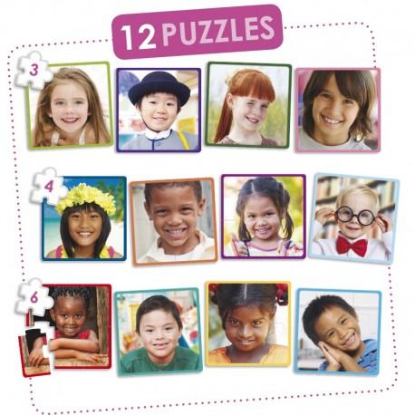 Set 12 puzles niños felices del mundo PUZLES
