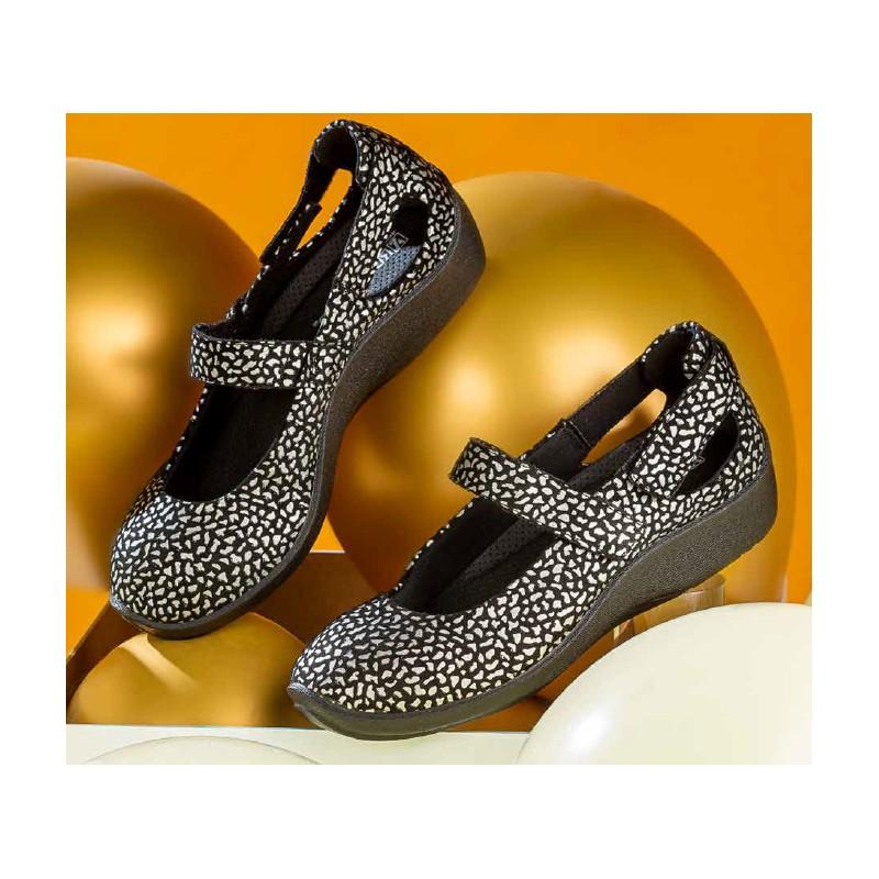 Merceditas Señora Arcopedico 4053 Negro y Plata Zapatos cuña